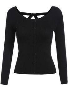 Black Round Neck Buttons Slim Knitwear
