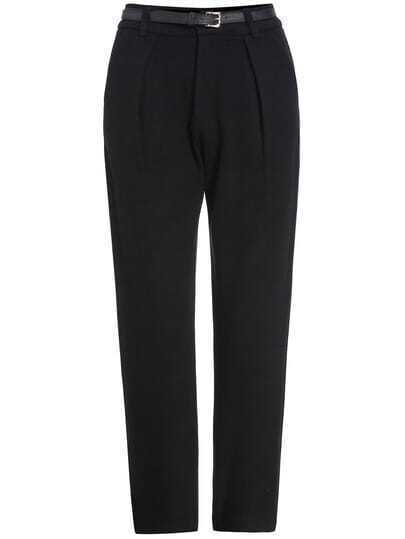 Black Slim High Waist Woolen Pant