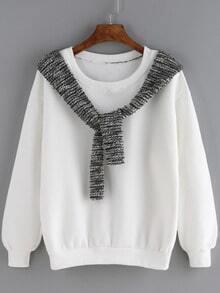 White Round Neck Shawl Embellished Sweatshirt