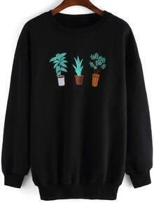 Black Round Neck Cactus Embroidered Sweatshirt
