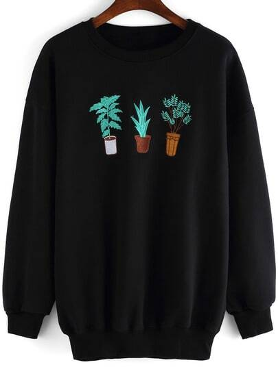 Black Round Neck Cactus Embroidered Sweatshirt