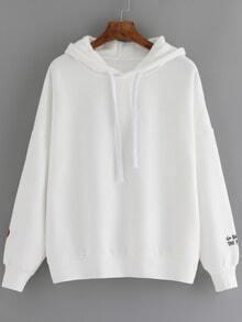 White Hooded Long Sleeve Zipper Loose Sweatshirt