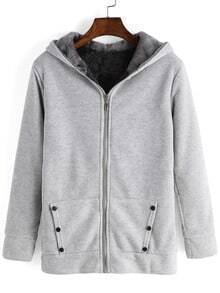 Grey Hooded Long Sleeve Buttons Sweatshirt