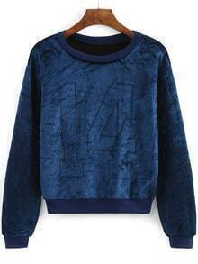 Blue Round Neck 14 Patterned Crop Sweatshirt