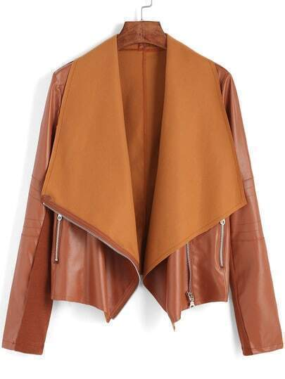 Khaki Lapel Oblique Zipper Crop Jacket