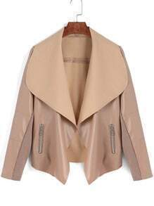 Khaki Lapel Zipper High Low PU Jacket