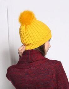 Yellow Casual Twisted Ball Hat