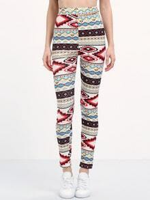 Multicolor Geometric Print Skinny Leggings