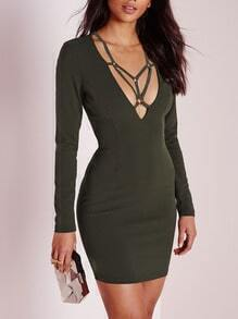 Green Long Sleeve Deep V Neck Bodycon Dress