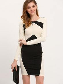 Black White Long Sleeve Color Block Dress
