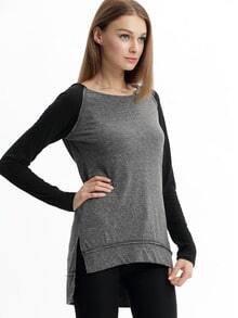 Grey Black Hooded Long Sleeve Color Block T-Shirt