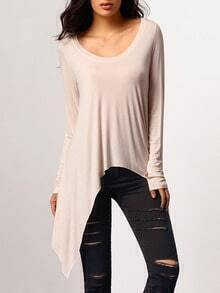 Pink Long Sleeve Asymmetric T-Shirt