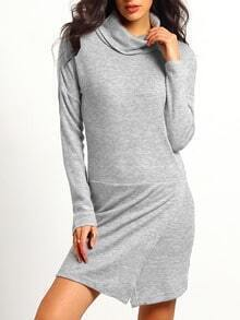 Grey High Neck Sheath Dress