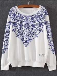 Blue White Round Neck Floral Loose Sweatshirt