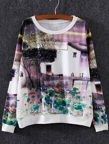 Multicolor Round Neck Bridge Print Sweatshirt