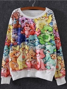 Multicolor Round Neck Cartoon Bear Print Sweatshirt