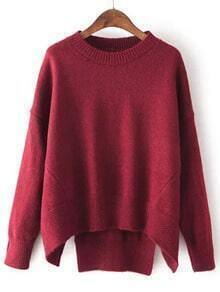 Burgundy Round Neck Split Loose Sweater