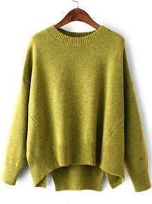Green Round Neck Split Loose Sweater