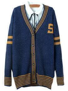 Navy Single Breasted Striped Sweater Coat