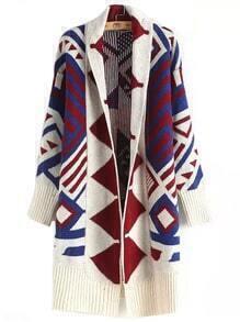 Multicolor Long Sleeve Geometric Print Sweater Coat