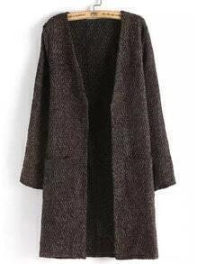 Coffee Long Sleeve Pockets Plaid Sweater Coat