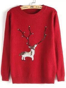 Red Round Neck Bead Deer Patterned Sweater
