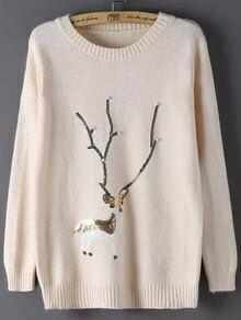 Beige Round Neck Bead Deer Patterned Sweater