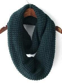 Dark Green Casual Knit Scarve