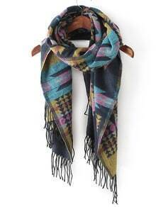 Multicolor Tribal Print Tassel Scarve