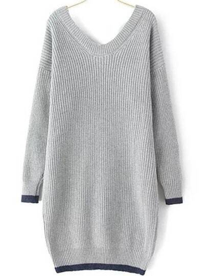 Grey V Neck Loose Long Sweater Dress