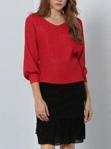 Red V Neck Loose Blouse