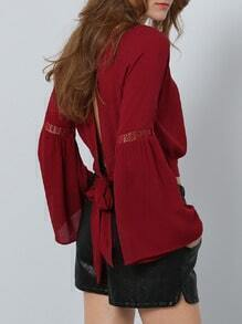Red Long Sleeve knotted Blouse