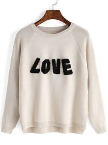 Apricot Round Neck LOVE Patterned Knitwear