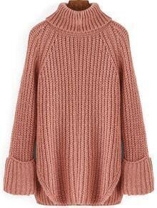 Pink High Neck Split Loose Sweater