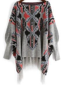 Multicolor Tribal Print Tassel Cardigan
