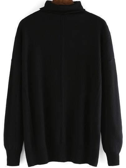 Black Mock Neck Long Sleeve Loose Knitwear