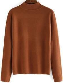 Khaki Mock Neck Long Sleeve Loose Knitwear