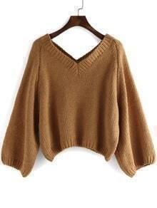 Khaki V Neck Loose Crop Sweater
