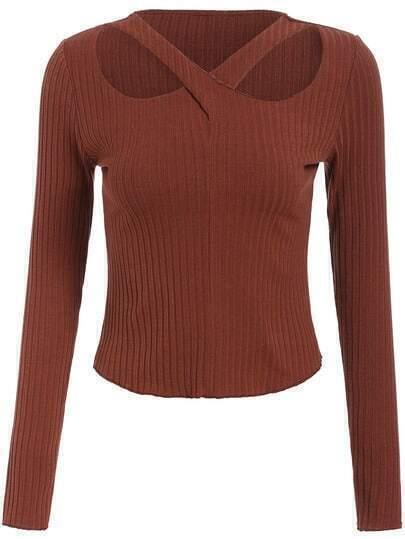 Suéter cuello V hueco crop -café