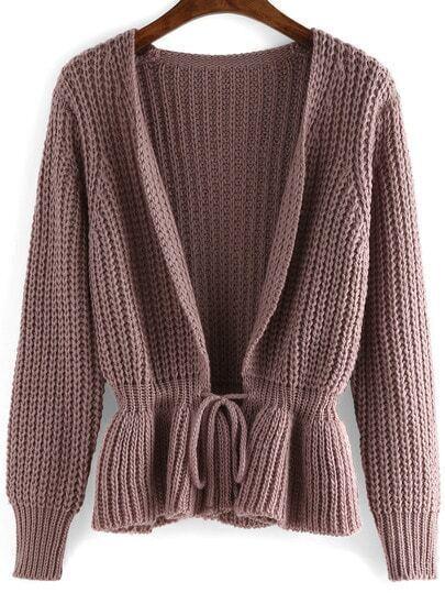 Purple Long Sleeve Drawstring Sweater Coat
