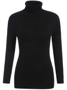 Black High Neck Long Sleeve Slim Knitwear