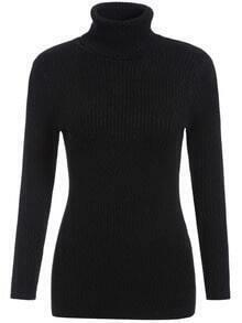 Black High Neck Long Sleeve Slim Knitwear