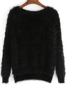 Blacke Round Neck Dip Hem Sweater