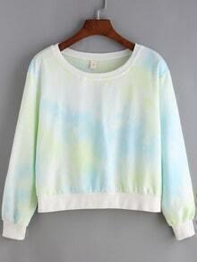 Multicolor Round Neck Dye Crop Sweatshirt