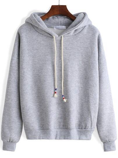 Grey Hooded Long Sleeve Crop Sweatshirt