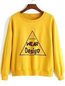 Yellow Round Neck Triangle Letters Print Sweatshirt