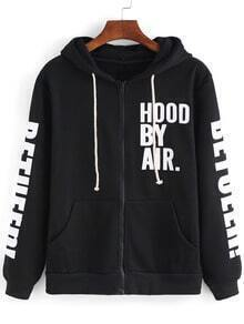 Black Hooded Zipper Letters Print Sweatshirt