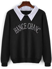 Black Contrast Collar Letters Embroidered Sweatshirt