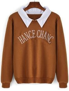 Khaki Contrast Collar Letters Embroidered Sweatshirt