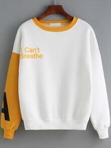 Yellow White Round Neck Letters Print Sweatshirt